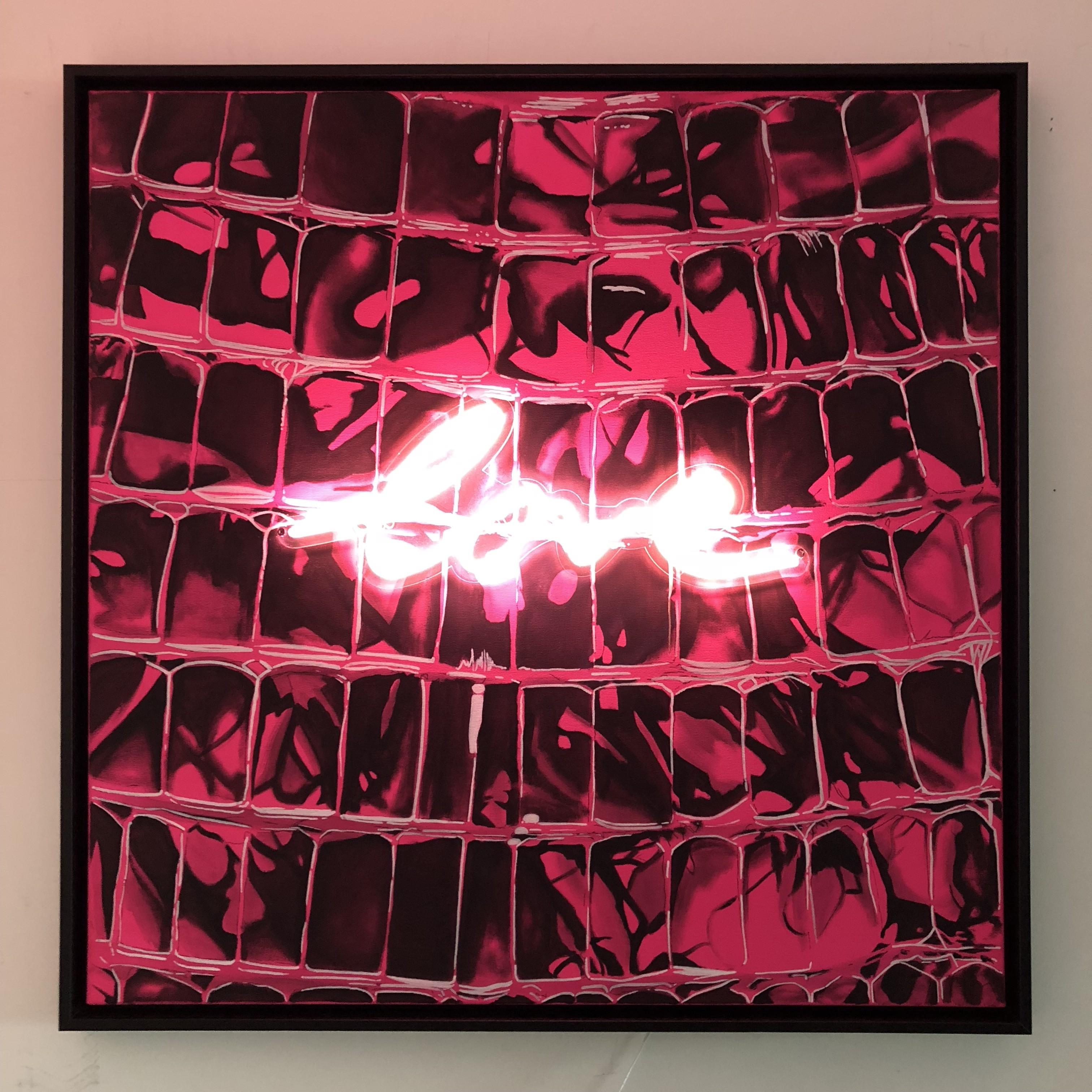 Acrylique sur toile et néon - 80cm x 80 cm
